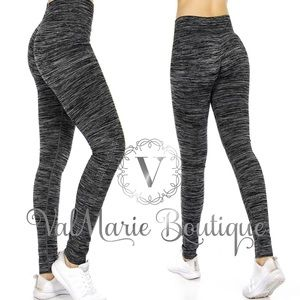 Black & Charcoal Marled Stretchy Yoga Active Pants